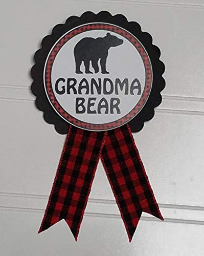 Grandma to Be Pin Buffalo Plaid Grandma Bear Baby Shower Pin to wear at Gender Reveal, Red & Black Pin, Baby Sprinkle ()
