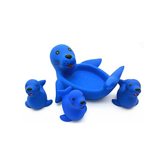 Axixi Cute Baby Girl Boy Kid Floating Bath Toys Toddler Bathtub Friends Classic Toys Rubber Race Squeaky Ducks Family Set (sea ()