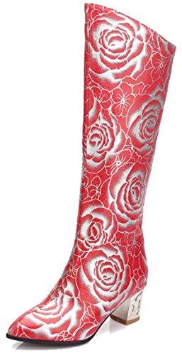 Easemax Womens Fleur À La Mode Imprimé Bout Pointu Mi Chunky Talon Fermeture À Glissière Haut Top Bottes Rouge