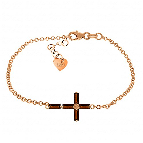 ALARRI 1.15 CTW 14K Solid Rose Gold Cross Baguette Garnet Bracelet Size 8.5 Inch Length by ALARRI