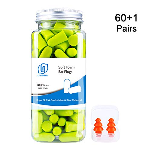 Foam Ear Plugs for Sleeping - Earplugs for Airplanes Noise Reduction 30dB NRR 60 Pairs Free Reusable Silicone Ear Plugs for Swimming Shooting Concerts by LYSIAN