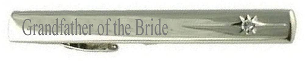 Select Gifts Grandfather of The Bride Wedding Title Engraved Tie Clip Bar in Pouch Clear Crystal