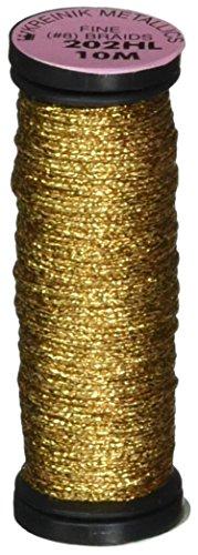 Kreinik No.8 Fine Metallic Braid Trim, 10m, Hi Lustre Aztec Gold - Gold Metallic Braid