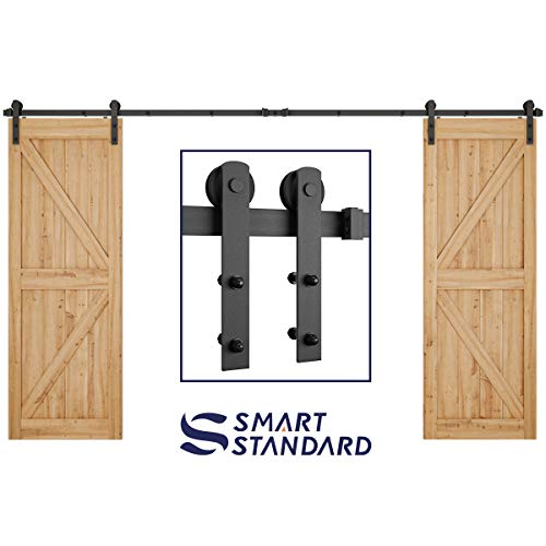 12ft Heavy Duty Double Door Sliding Barn Door Hardware Kit -Smoothly and Quietly -Simple and Easy to Install -Includes Step-by-Step Installation Instruction -Fit 30