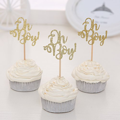 Giuffi Set of 24 Golden Oh Boy Cupcake Toppers Party Decors Baby Shower Decors - by Baby Cupcake Toppers
