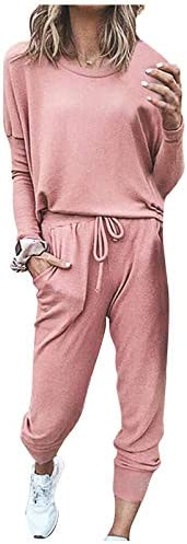 Pajamas for Women Sets,Solid Two Piece Outfit Long Sleeve Crewneck Pullover Tops and Long Pants Sweatsuits Tracksuits