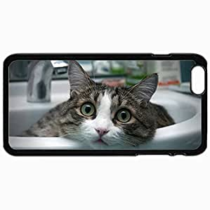 Customized Case Back For Iphone 6 Plus 5.5 Inch Hard Cover Personalized Cat Face Light Sit Sink Look Wonder Black BY supermalls