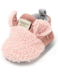 Baby Girls Boys Plush Fleece Soft Sole Loafer Shoes Warm Shoes
