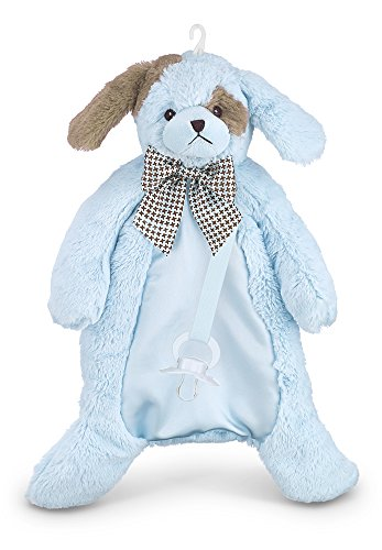 Bearington Baby Waggles Pacifier Pet, Plush Blue Puppy Dog Paci Clip Holder, 15.5