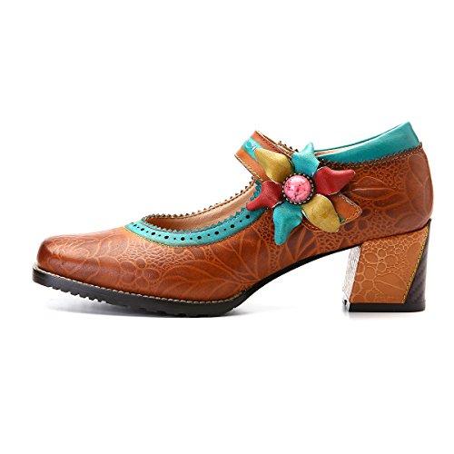 Gracosy Lederen Pumps, Vrouwen Wedge Sandals Schoenen Van Mary Jane Huwelijksfeest Anti-slip Gesp Enkel Schoenen Oranje