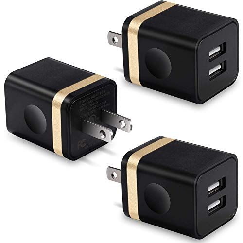 USB Wall Charger, BEST4ONE 2.1A/5V Dual Port USB Plug Power Adapter Charging Block Cube Compatible with Moto, Phone, Samsung, Google Pixel, LG (Black/Gold) 3-Pack