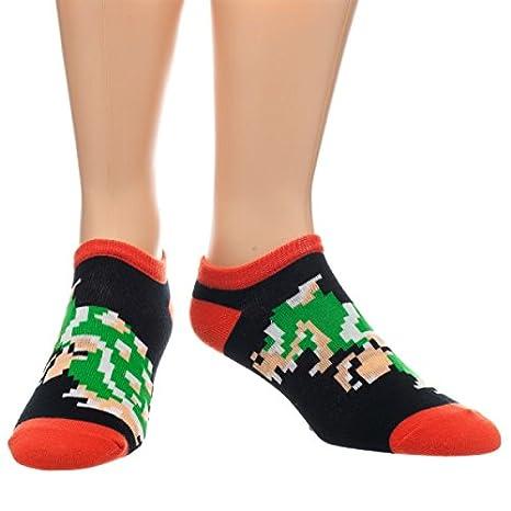 Oficial Retro 8 bit Super Mario Luigi Bros - Juego de calcetines el tobillo tamaño 5 - 10: Amazon.es: Ropa y accesorios