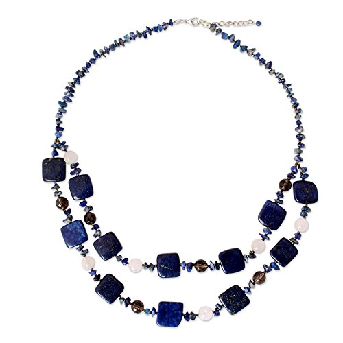 NOVICA Multi-Gem Lapis Lazuli .925 Sterling Silver Plated Beaded Necklace, 22.75