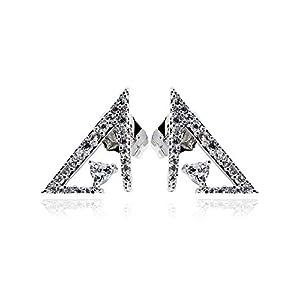 COCHÉ JEWELRY Scalene Cubic Zirconia Earrings: Minimalist Rhodium Over Copper Geometric Shape Sparkling Studs