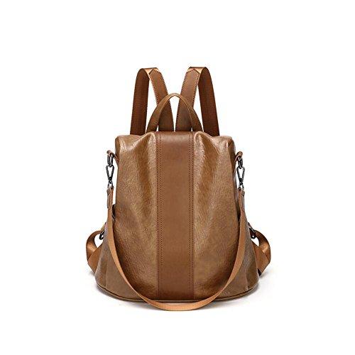 FH Bolsa de Deporte, Bolsa de Fitness Mochila de Alta Capacidad Simple Personalidad antirrobo Bolsa Ocio Salvaje Suave Piel Mochila Mujer (Color : Brown) Brown