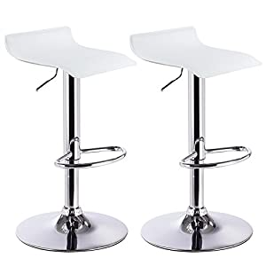 WOLTU Bar Stools Set of 2 Faux Leather Bar Stools White Gas Lift Seat Adjust