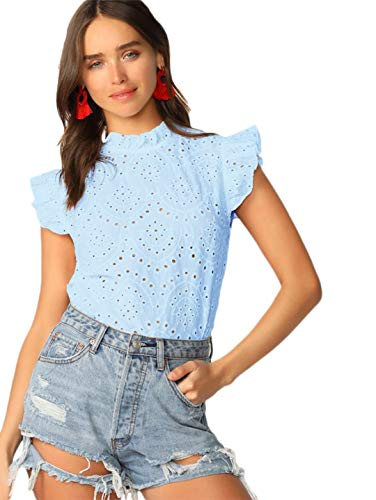 Romwe Women's Sleeveless Ruffle Stand Collar Embroidery Button Slim Cotton Blouse Top Blue XS