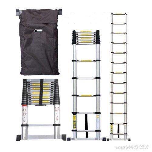 Silex Pro Echelle té lescopique 3, 80 m en Alu avec housse de transport/barre stabilisatrice echelle3M80