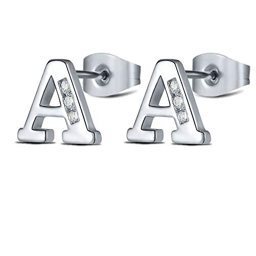 Silver Initial Letter Studs Earrings A for Women Girls Tiny Stainless Steel Hypoallergenic Sensitive Ears