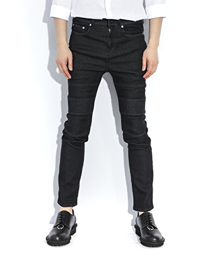 wiberlux-neil-barrett-mens-zipper-pocket-ribbed-knee-biker-jeans-31-black