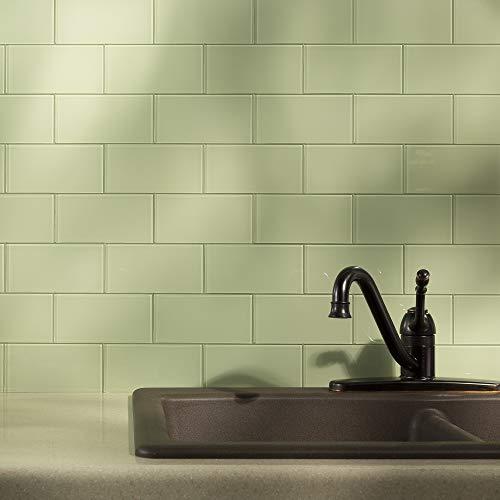 Aspect Peel and Stick Backsplash Kit Fresh Sage Glass Tile for Kitchen and Bathrooms (15 sq ft Kit) by Aspect (Image #5)