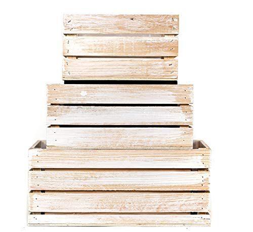 (Winship Stake and Lath, Inc. Rustic Decorative Wood Crates (Set of 3) - White Wash)
