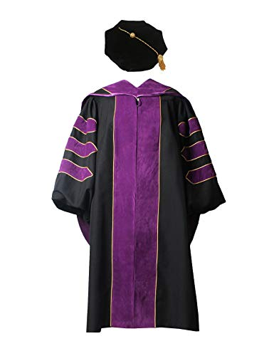 (GraduationService Deluxe Doctoral Graduation Gown,Phd Hood and 8-Side Tam Package Purple)