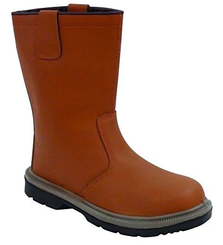 Lisos de acero botas de seguridad para hombre botas de seguridad zapatos de con puntera de metal y la suela intermedia de tamaños de trabajo, color marrón, talla 42 canela