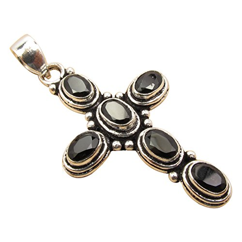925 Silver Plated ETHNIC CROSS Pendant ! - Oxidized Black Onyx Necklace Shopping Results