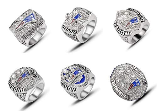 YIYICOOL New England Patriots 6 Years Rings Set, Super Bowl 2019-2001 Championship Replica Rings Size 8-14 (6 Years Style A) (9, No Box)