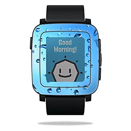MightySkins Protective Vinyl Skin Decal for Pebble Time Smart Watch Cover wrap Sticker Skins Water Droplets