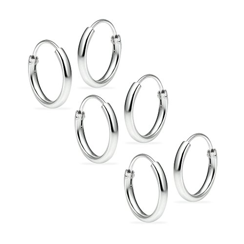 3 Pairs Sterling Silver Earrings Small Endless Set for Women & Girls 1.2mm x 10mm Lightweight Thin Round Unisex Hoop Assorted Colors