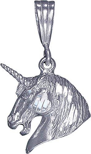 Sterling Silver Unicorn Charm Pendant Necklace Diamond Cut Finish with Chain (With 18