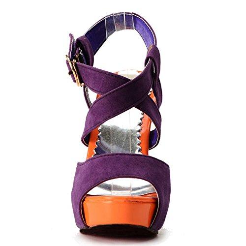 Cheville De Talon Sangle Boucle 1030 Femme violet Sandales Haut Sandales Mode Plateforme TAOFFEN nwO08Sx6q1