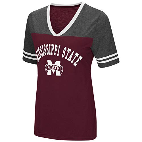 Colosseum Women's NCAA Varsity Jersey V-Neck T-Shirt-Mississippi State Bulldogs-Maroon-Large