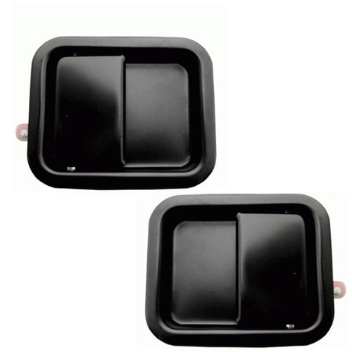 - 1987-1993 Jeep Wrangler Front Black Outside Outer Exterior Door Handles Left Driver AND Right Passenger Side (1987 87 1988 88 1989 89 1990 90 1991 91 1992 92 1993 93)