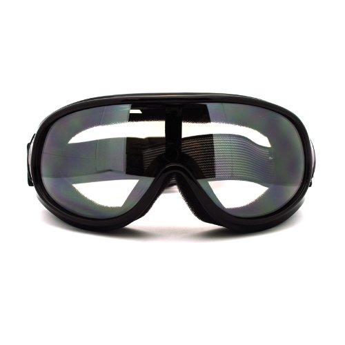 (New Retro Cafe Racer Style Narrow Shatter Proof Anti Fog Lens Goggle Clear)