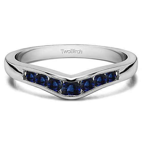 (Sapphire Graduated Wedding Ring In 14k White Gold(0.23Ct) Size 3 To 15 in 1/4 Size Interval)