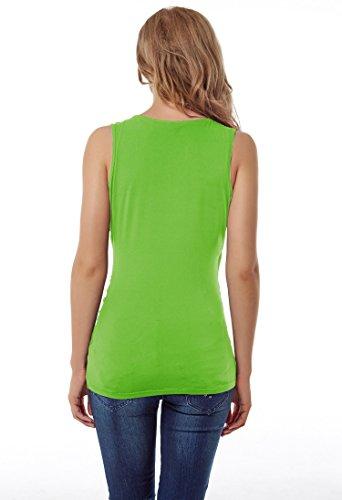 en vert t Dbardeur L fluorescent noir V Col c pour Hippolo fronce femme wqHtx6S
