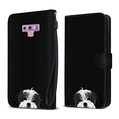 FINCIBO Case Compatible with Samsung Galaxy Note 9 6.4 inch, Protective Flip Canvas Wallet Pouch Case Card Holder TPU Cover for Galaxy Note 9 - Black White Shih Tzu ()