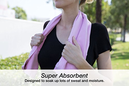 "MEGALOVEMART Set of 2 Super Absorbent 24"" x 72"" Microfiber Non Slip Yoga & Pilates Towels - Pink"