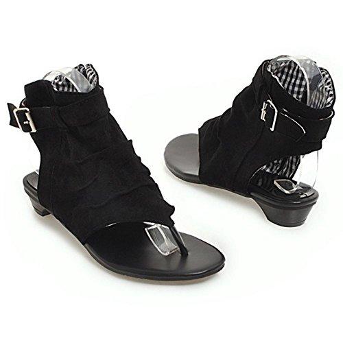 Plano Sandalias Toe Zanpa Negro Clip Zapatos Clasico Mujer x1w7qUH