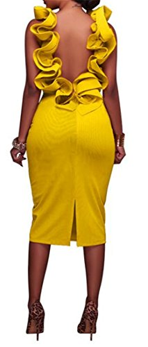 Backless Club Dress Yellow Midi Pencil Bodycon Neck Women's Tang Round Big Falbala O0SIHI
