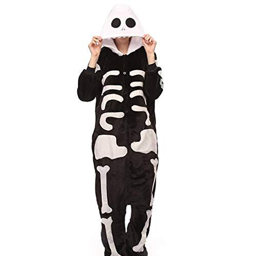 SHANGXIAN Adult Onesie Skeleton Pajamas for Women/Men Cosplay Halloween Costumes,M