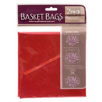 Red Translucent Plastic Basket Bags, 22 In. X 30 In. - 2/pkg (Gift Basket Plastic Wrap)