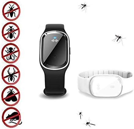 2パック超音波電子蚊忌避ブレスレット、Echargeable自然防水調節可能な屋外のアンチモスキートリストバンド、子供のための、大人、旅行、キャンプ(ブラック&ホワイト)