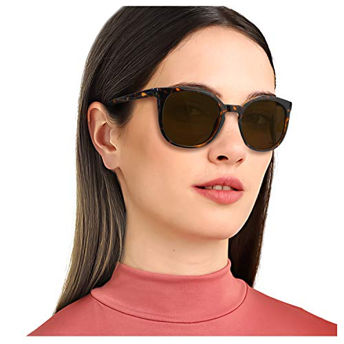 (TJUTR Women's Retro Round Polarized Sunglasses, Vintage Designer Style Eyewear with UV Protection for Driving Shopping (Leopard Brown Frame/Brown Round Lens(PC)