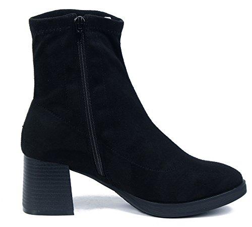 Sintético Baja Mujer Shoes Cordones Tacón Negro Sin AgeeMi Caña Grueso Botas wI4p56