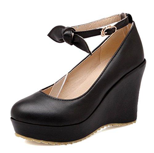 YE Women Ankle Strap Wedge High Heels Platform Pumps with Bow and Platform Black FfgYMRnv