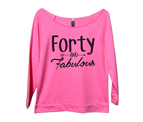 "40th Birthday Gift Shirt Off Shoulder Raglan ""Forty and Fabalous"" Funny Threadz"